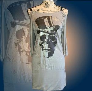 Symphony Gray Skull Print Open Zipper Back Dress